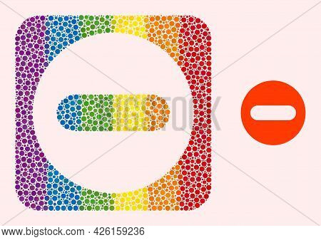 Dot Mosaic Remove Stencil Icon For Lgbt. Rainbow Colored Rounded Square Mosaic Is Around Remove Subt