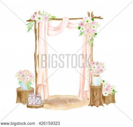 Watercolor Boho Wedding Arch Illustration. Hand Painted Isolated Wood Archway With Curtains, Lantern