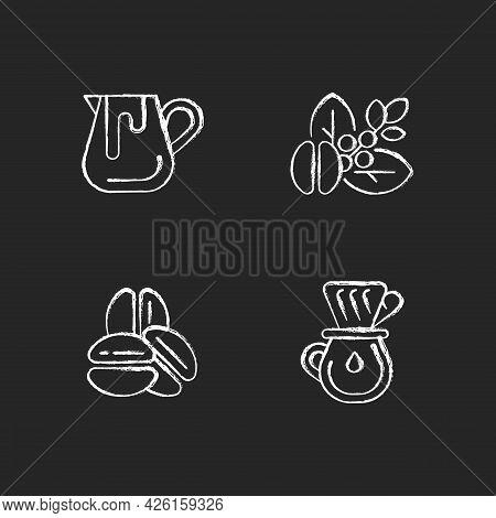 Coffee Preparation Chalk White Icons Set On Dark Background. Milk Pitcher For Barista. Raw Beans. Ro