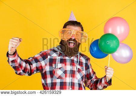 Full Of Happiness. Stylish Male Having Fun On Birthday. Bearded Man Celebrate Holiday. Anniversary.