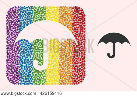 Dotted Mosaic Umbrella Stencil Icon For Lgbt. Rainbow Colored Rounded Rectangle Mosaic Is Around Umb