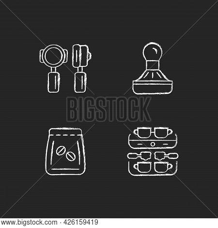 Coffee Shop Professional Tools Chalk White Icons Set On Dark Background. Professional Portafilter An
