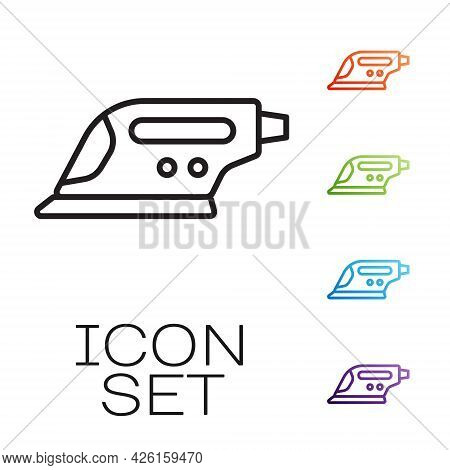 Black Line Electric Iron Icon Isolated On White Background. Steam Iron. Set Icons Colorful. Vector