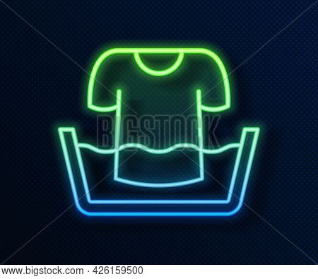 Glowing Neon Line Plastic Basin With Shirt Icon Isolated On Blue Background. Bowl With Water. Washin