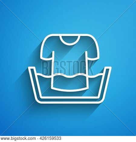 White Line Plastic Basin With Shirt Icon Isolated On Blue Background. Bowl With Water. Washing Cloth