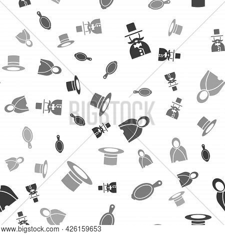 Set Magician, Magic Hand Mirror, Mantle, Cloak, Cape And Magician Hat On Seamless Pattern. Vector