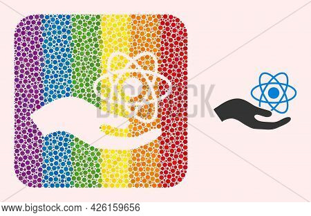Dotted Mosaic Quantum Service Hand Carved Icon For Lgbt. Rainbow Colored Rounded Square Mosaic Is Ar