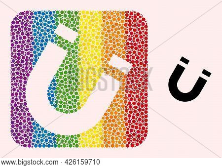 Dot Mosaic Horseshoe Magnet Subtracted Icon For Lgbt. Colorful Rounded Square Mosaic Is Around Horse