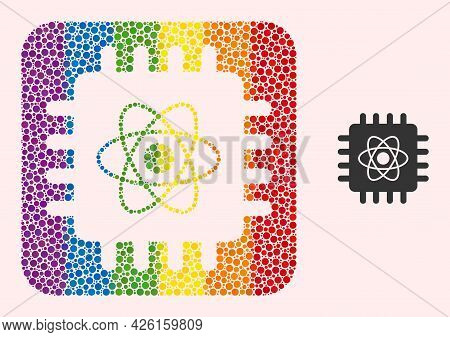 Dotted Mosaic Quantum Computing Carved Icon For Lgbt. Multicolored Rounded Square Mosaic Is Around Q