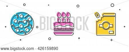 Set Cookie Or Biscuit, Cake With Burning Candles And Candy Packaging For Sweets Icon. Vector