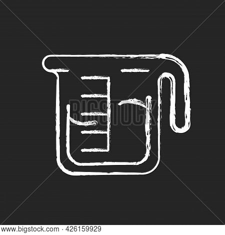 Coffee Measuring Cup Chalk White Icon On Dark Background. Beaker With Drink. Kitchen Utensil For Esp