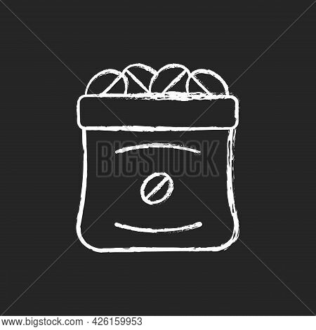 Coffee Sacks Chalk White Icon On Dark Background. Roasted Beans In Bag For Commercial Production. Pr