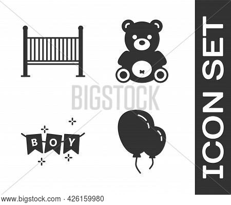 Set Balloons With Ribbon, Baby Crib Cradle Bed, Carnival Garland With Flags And Teddy Bear Plush Toy
