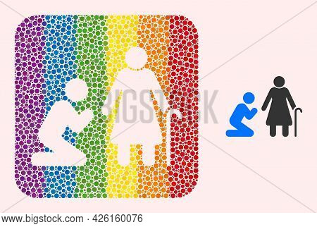 Dotted Mosaic Man Pray For Grandmother Hole Icon For Lgbt. Colorful Rounded Square Mosaic Is Around