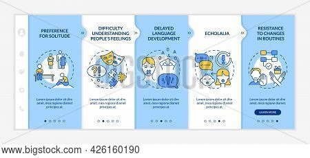 Autism Spectrum Disorder Signs Onboarding Vector Template. Responsive Mobile Website With Icons. Web