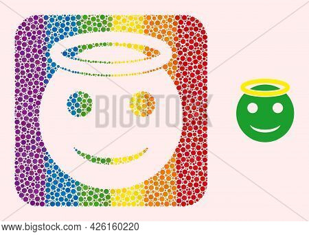 Dotted Mosaic Holy Smiley Hole Icon For Lgbt. Colored Rounded Square Mosaic Is Around Holy Smiley Ho