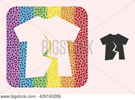 Dot Mosaic Torn T-shirt Subtracted Icon For Lgbt. Rainbow Colored Rounded Rectangle Mosaic Is Around