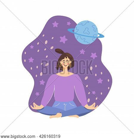 Concept Meditating Girl Against Background Space, Planet, Woman Relaxes, Calms Down Lotus Position.