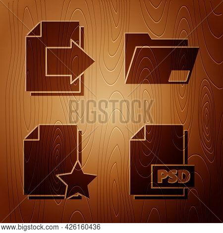 Set Psd File Document, Next Page Arrow, Document With Star And Document Folder On Wooden Background.