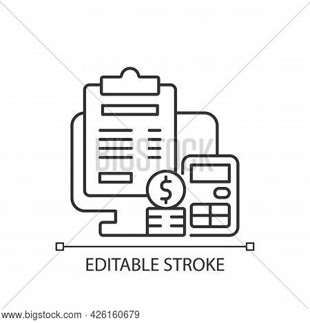 Invoicing Linear Icon. Cost Management For Business. Financial Document. Work Monitoring. Thin Line