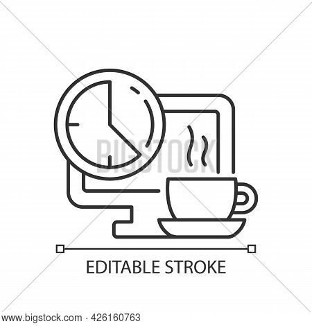 Breaks In Work Graphic Linear Icon. Time For Rest On Workplace In Office. Work Monitoring. Thin Line