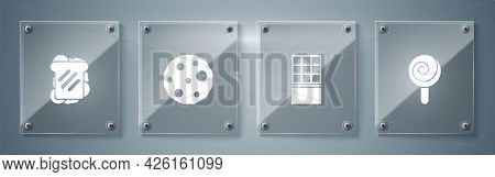 Set Lollipop, Chocolate Bar, Cookie Or Biscuit And Sandwich. Square Glass Panels. Vector
