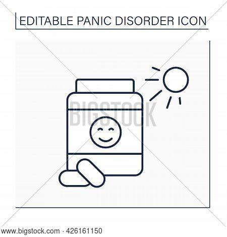 Antidepressants Line Icon. Medications Help Relieve Symptoms Of Mental Diseases. Increase Serotonin.