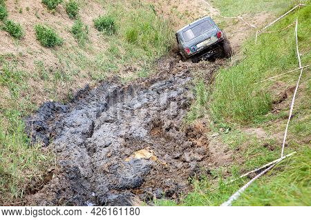 An Hill With Slopes And Off-road Terrain For Competition Driving Through The Swamp On Off-road Vehic
