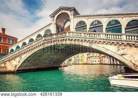 Rialto bridge over Grand canal in Venice