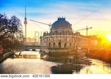 Museum Island in Berlin at sunny sunrise