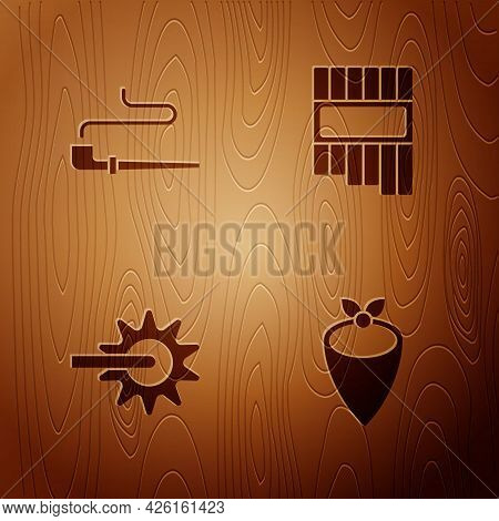 Set Cowboy Bandana, Smoking Pipe, Spur And Pan Flute On Wooden Background. Vector