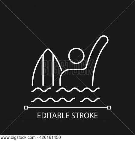 Emergency Signal For Drowning White Linear Icon For Dark Theme. Waving One Straight Arm Above Head.