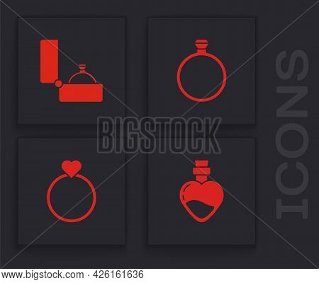 Set Bottle With Love Potion, Diamond Engagement Ring, And Wedding Rings Icon. Vector