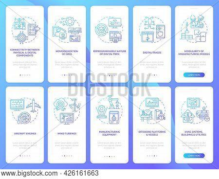Digital Twin Onboarding Mobile App Page Screen Set. Smart System Walkthrough 5 Steps Graphic Instruc