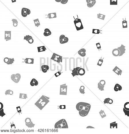 Set Heart Tag, Healed Broken Heart, Head With And Greeting Card On Seamless Pattern. Vector