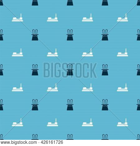 Set Magician Hat And Rabbit Ears And Bumper Car On Seamless Pattern. Vector