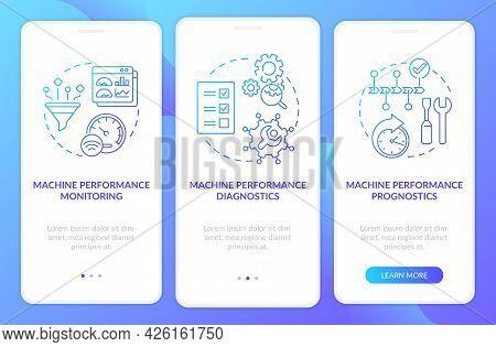 Digital Twin Tasks Onboarding Mobile App Page Screen. Smart Machine Walkthrough 3 Steps Graphic Inst