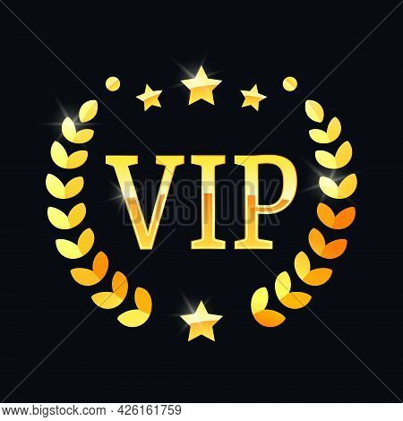 Vip Gold Label With A Laurel Wreath. Vip Icon. Vector Illustration Eps 10