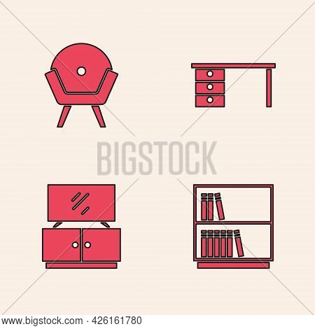 Set Library Bookshelf, Armchair, Office Desk And Tv Table Stand Icon. Vector