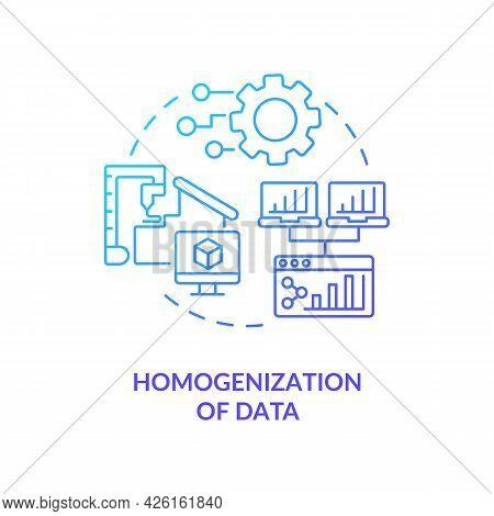 Homogenization Of Data Concept Icon. Digital Twin Characteristics. Innovative Computer Systems Autom