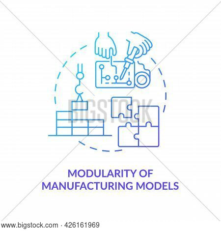 Modularity Of Manufacturing Models Concept Icon. Smart Computers. Digital Twin Characteristics. Cust