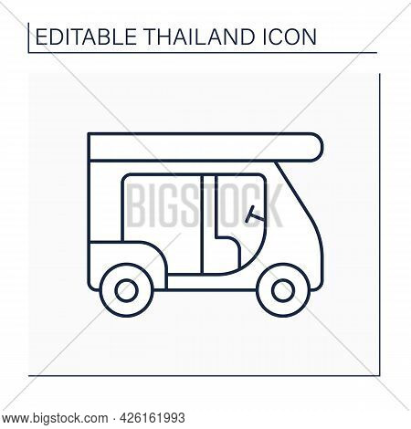 Tuk Tuk Line Icon. Taxi. Motorised Auto Used For Slow Driving. Food Delivery. Transportation. Thaila