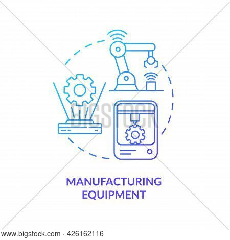 Manufacturing Equipment Concept Icon. Digital Twin Application By Industry. Innovative Smart Technol
