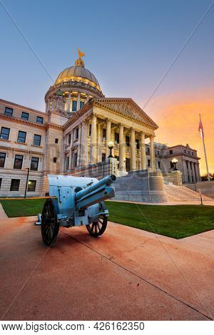 Mississippi State Capitol in Jackson, Mississippi, USA at twilight.