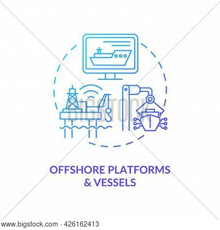 Offshore Platforms And Vessels Concept Icon. Digital Twin Application By Industry. Smart Computer Te