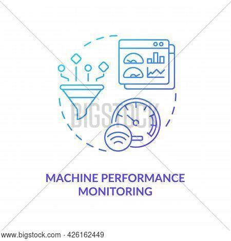 Machine Performance Monitoring Concept Icon. Digital Twin Tasks. Innovative Technologies. Smart Comp