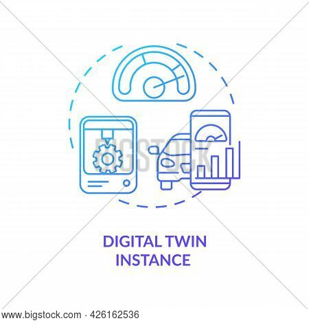 Digital Twin Instance Concept Icon. Tests On Different Technologies Usage Scenarios. Innovative Comp