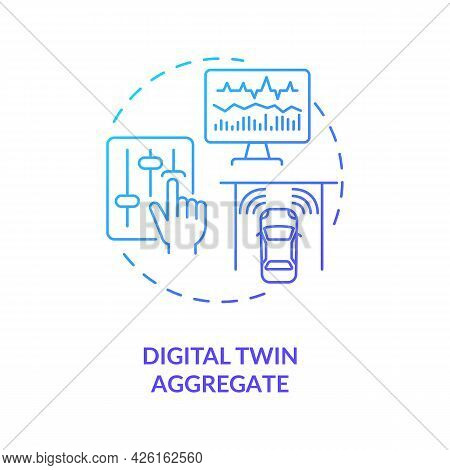 Digital Twin Aggregate Concept Icon. Smart Technology Types. Innovative Smart Computers. System Auto