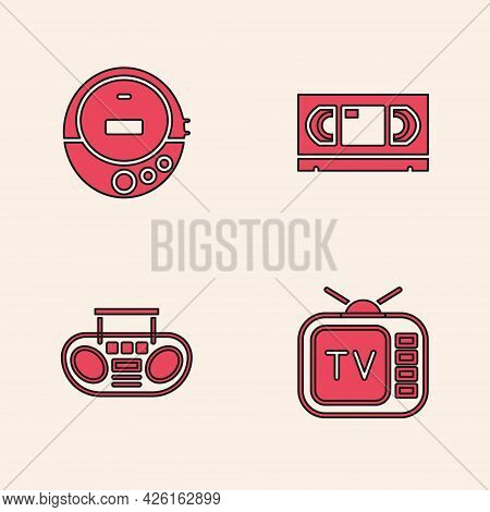 Set Retro Tv, Music Cd Player, Vhs Video Cassette Tape And Home Stereo With Two Speakers Icon. Vecto