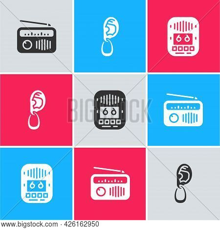 Set Radio With Antenna, Ear Earring And Cassette Tape Player Icon. Vector